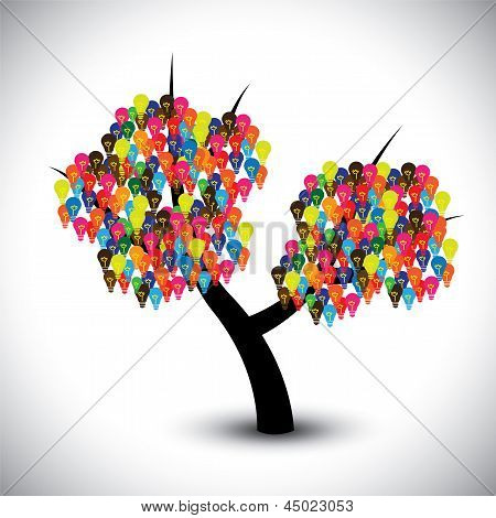 Vector Graphic Of Idea Tree With Colorful Bulbs As Solutions