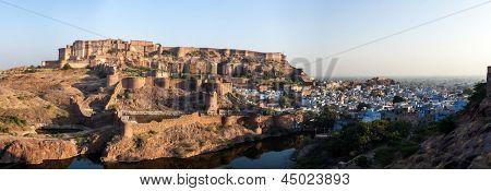 Panorama of Mehrangarh Fort and Padamsar Talab and Ranisar Talab lakes , Jodhpur, Rajasthan, India