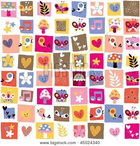 cute flowers, birds, hearts pattern