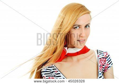 Beautiful Young Girl In Red Neckerchiefs