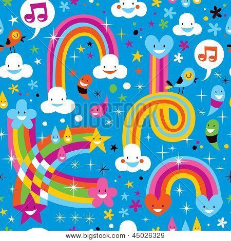 clouds rainbows rain drops hearts pattern