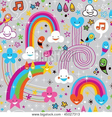clouds rainbows rain drops fun pattern