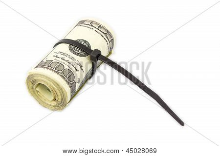 Gangster Roll Made With Zip Tie On White Background