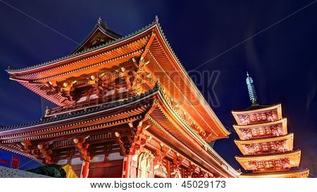 Sensoji Temple  in Tokyo, Japan. Founded in 628, it is Tokyo's oldest shrine and one of the most significant.