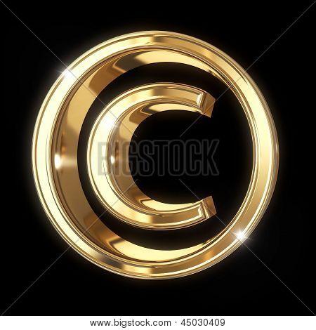 Golden 3D copyright symbol