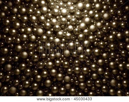 Golden shinning pearls background