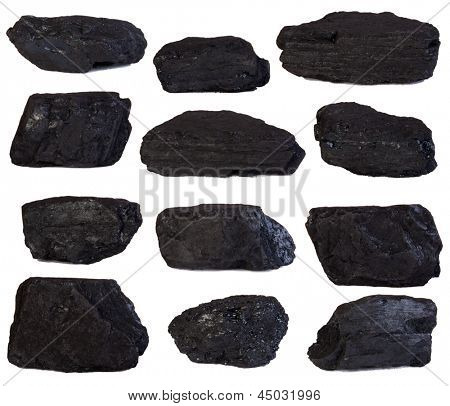 Coal lumps isolated on white background