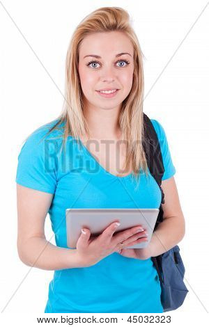 Young Caucasian Student  Girl Using A Tactile Tablet - Caucasian People