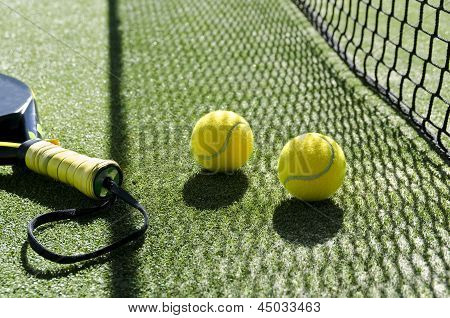 Paddle Tennis Objects And Sunlight Shadow