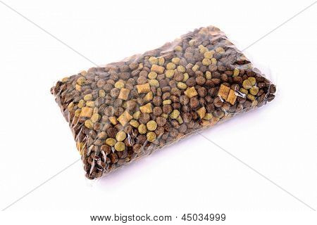 Dog food package on white background