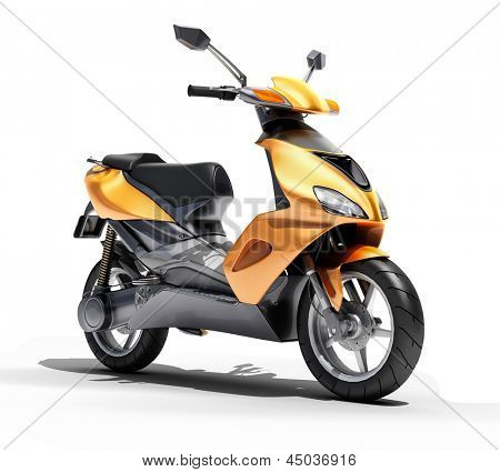 Trendy orange scooter close up on a light background