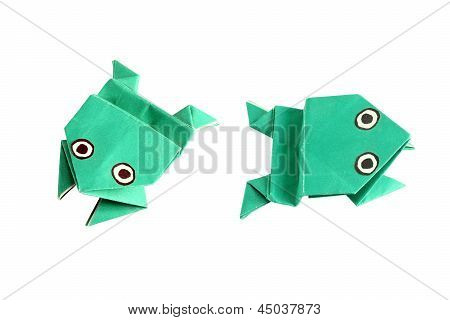 Origami Frog In Two Different Positions
