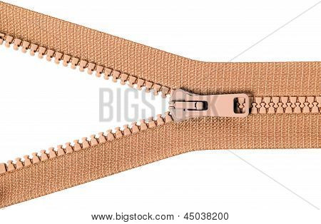 Brown Zip With Metal Teeth