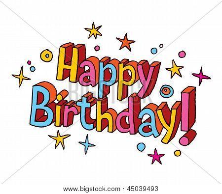 Happy birthday cartoon text