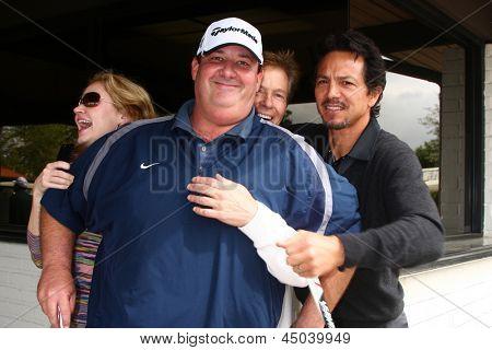 LOS ANGELES - APR 15:  Ashley jones, Brian Baumgartner, Jack Wagner, Benjamin Bratt at the Jack Wagner Celebrity Golf Tournament  at the Lakeside Golf Club on April 15, 2013 in Toluca Lake, CA