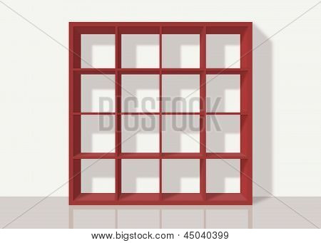 Red Empty Square Bookshelf On White Wall Background