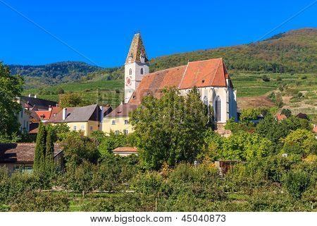 Spitz Village Church In Famouse Wachau Valley, Austria