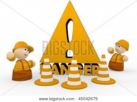 Danger symbol  with two cute 3d characters