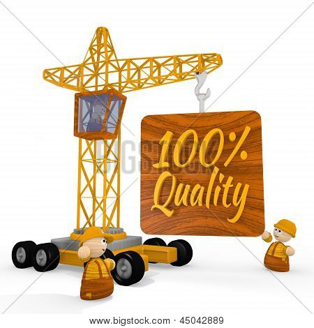 3d graphic of a cute quality icon with a crane