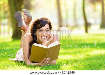 Romantic Woman Reading Book In Summer