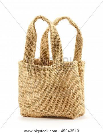 Brown Sackcloth Bag On White Background