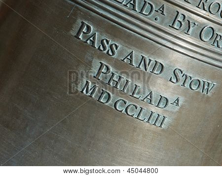 Closeup Of Lettering On The Liberty Bell-horizontal