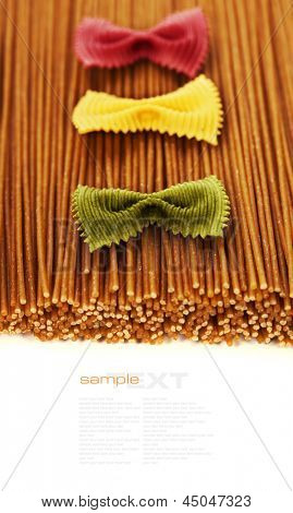 whole wheat spaghetti and Farfalle pasta