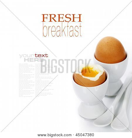 Delicious breakfast with Boiled Eggs in Eggcups (with easy removable text)