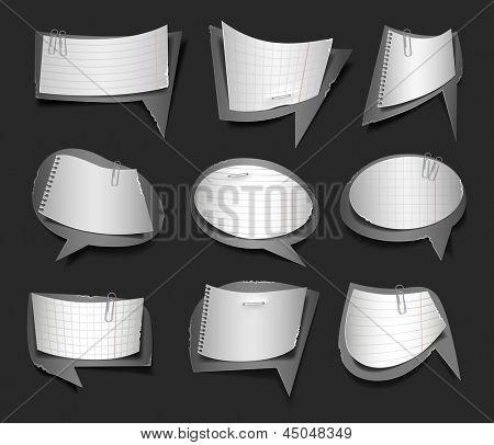 Vector illustration of black and white retro paper bubbles speech