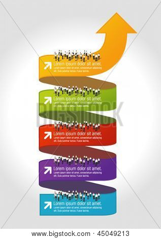 Template for advertising brochure with business people over arrow