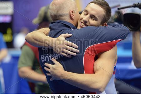 MOSCOW, RUSSIA - APRIL 20: Daniel Keatings, Great Britain win the exercise on pommel horse in final of 5th European Championships in Artistic Gymnastics in Moscow, Russia on April 20, 2013