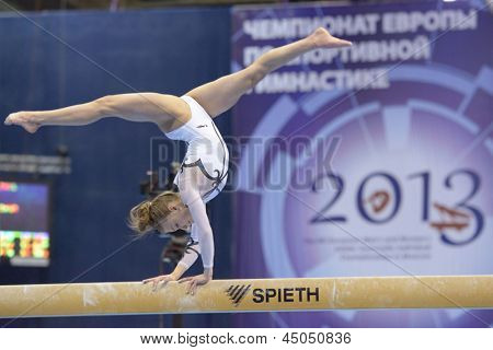 MOSCOW, RUSSIA - APRIL 21: Katarzyna Jurkowska, Poland performs exercise on balance beam in final of 5th European Championships in Artistic Gymnastics in Moscow, Russia on April 21, 2013