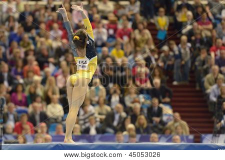 MOSCOW, RUSSIA - APRIL 21: Diana Laura Bulimar, Romania performs floor exercise in final of 5th European Championships in Artistic Gymnastics in Moscow, Russia on April 21, 2013