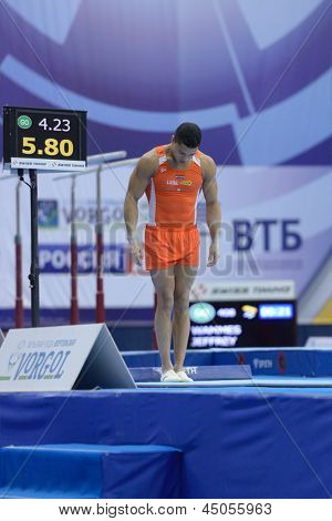 MOSCOW, RUSSIA - APRIL 21: Jeffrey Wammes, Netherlands is ready to perform vault in final of 5th European Championships in Artistic Gymnastics in Moscow, Russia on April 21, 2013