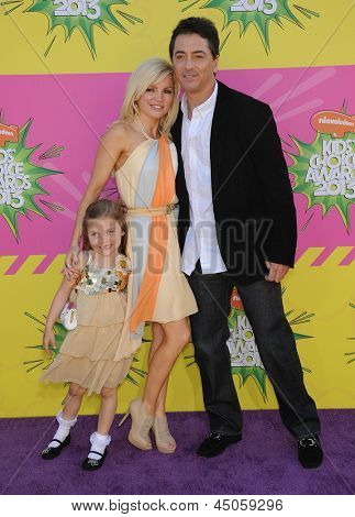 LOS ANGELES - MARCH 23:  Scott Baio, wife Renee Sloan and Bailey arrives to the Kid's Choice Awards 2013  on March 23, 2013 in Los Angeles, CA.