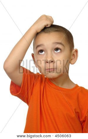 Boy Looking Up Frustrated, Isolated On White