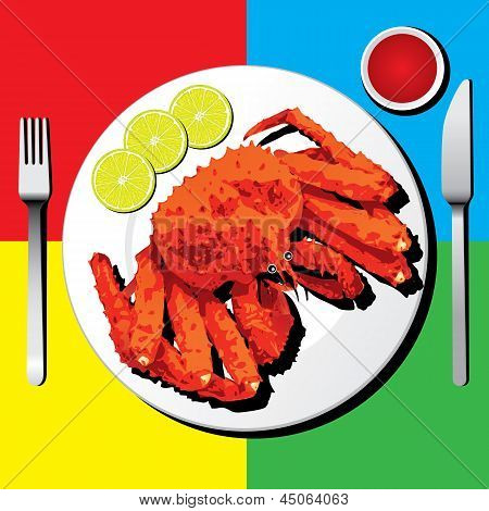 Alaskan King Crab With Fork And Knife Vector