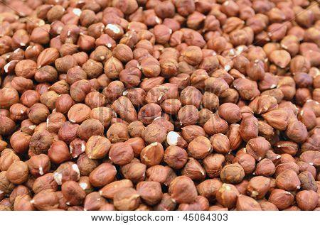 Close Up Of Hazelnut On Market Stand