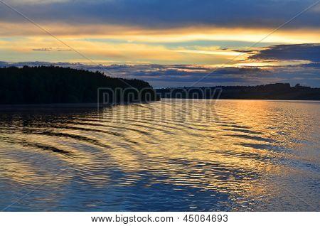 Beautiful Water At Sunset On River Volga