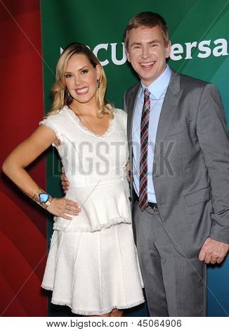 LOS ANGELES - APR 22:  Kendra Scott & Pat Kiernan arrives to the NBC Universal Summer Press Day 2013  on April 22, 2013 in Pasadena, CA.
