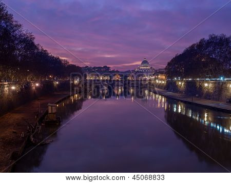 Tevere river with sunk boat