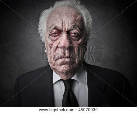 portrait of bad old businessman