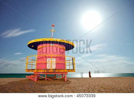 Miami Beach Florida colorful lifeguard house at night