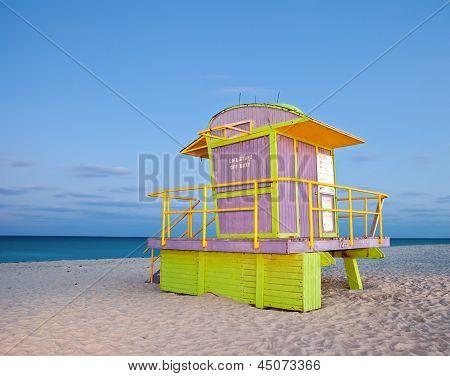 Miami Beach Florida colorful lifeguard house at night