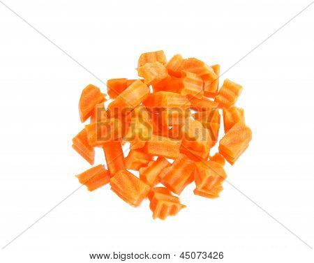 Carrot Diced Isolated On White Background