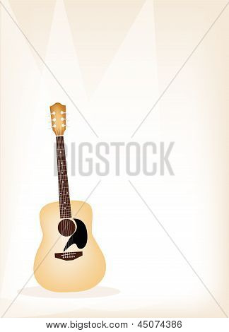 A Beautiful Guitar On Brown Stage Background