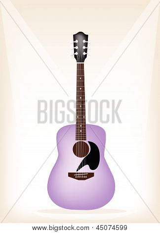 A Beautiful Purple Guitar On Brown Stage Background