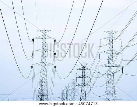 High Voltage Powerlines Processed As Duotone