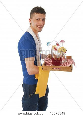 Young Man Serving Cocktails On A White Background