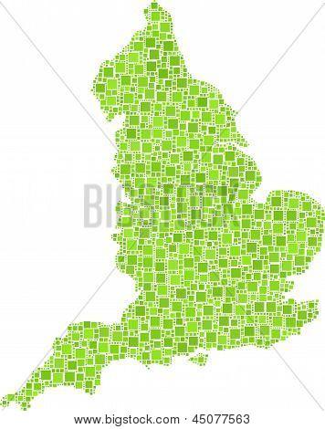 Isolated map of England - UK -